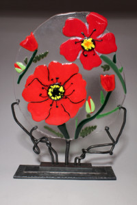 Poppies with custom forged iron stand 17""