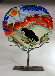 """Raven Mosaic on custom forged iron stand  23.5""""  SOLD"""