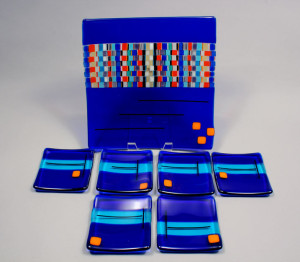 "7 piece Cobalt Sushi Set 8"" x 8"" and (6) 4"" x 4"""