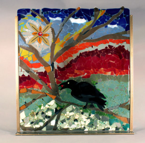 "Sun Raven  Fused Glass Mosaic18"" x 20"""