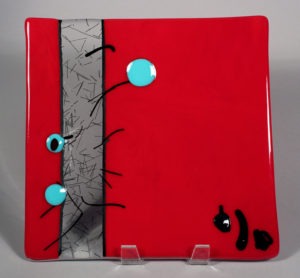 "10"" x 10"" Red & Turquoise Dish"